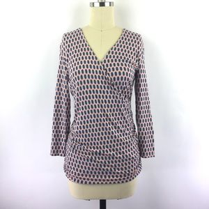 Boden Blouse 6 3/4 Sleeve Deep V Stretch Geometric